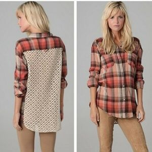 We The Free Plaid Road Trip Lace Back Gauze Top